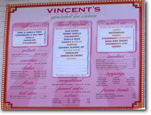 Vincent's Ice Cream Menu