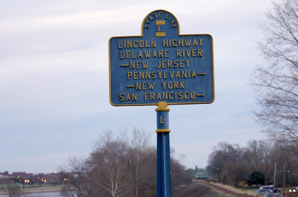 "A sign my the Calhoun Street bridge survives from the ""Lincoln Highway"", a coast to coast road which pre-dates the US highway system"