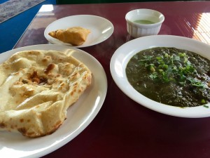 Samson sag, naan, and a vegetable samosa