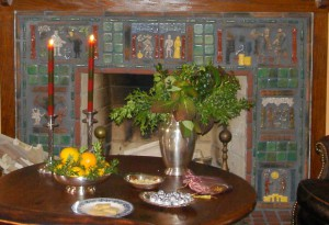The editor's home includes a fireplace faced with Moravian Tile.
