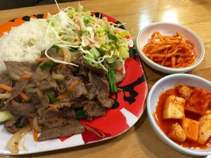 Bulgogi with two of the three banchan