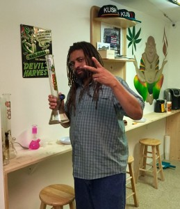 "NJ Weedman with his favorite bong, inside the Liberty Bell III ""sanctuary"" portion of his joint."