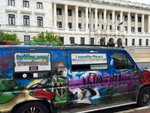 "The delivery van (aka ""weedmobile""), parked across from City Hall"