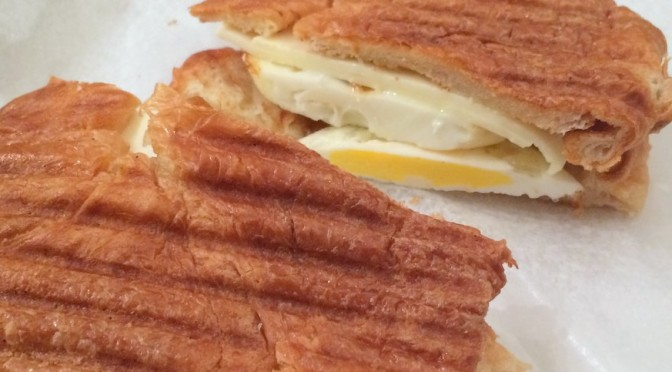 Egg and cheese on croissant
