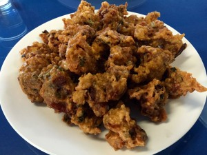 Vegetable pakora is served by the pound. This is 1 lb. Which is enough for eight hungry human beings.