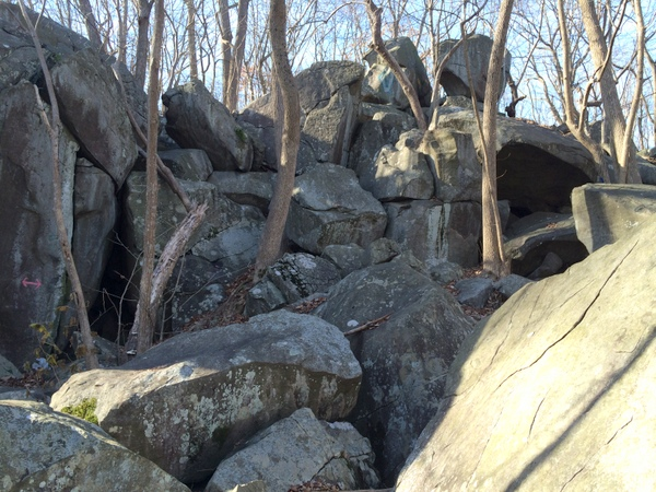 Hiking to the summit of Haycock requires an entertaining scramble over large boulders