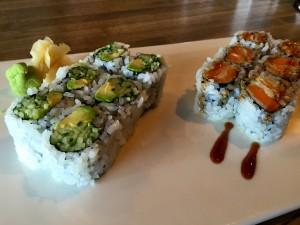 Sweet potato tempura and avocado/cucumber sushi