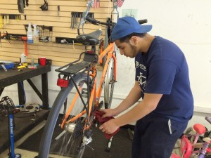 My new bike! Getting finishing touches from Abdel Emara--one of the graduates of the intern program.