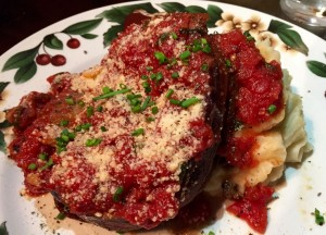 Argentinian-inspired meatloaf, stuffed with roasted red peppers and mozzarella, with a hard-boiled egg in each slice.
