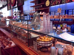 The juice bar and bakery case.
