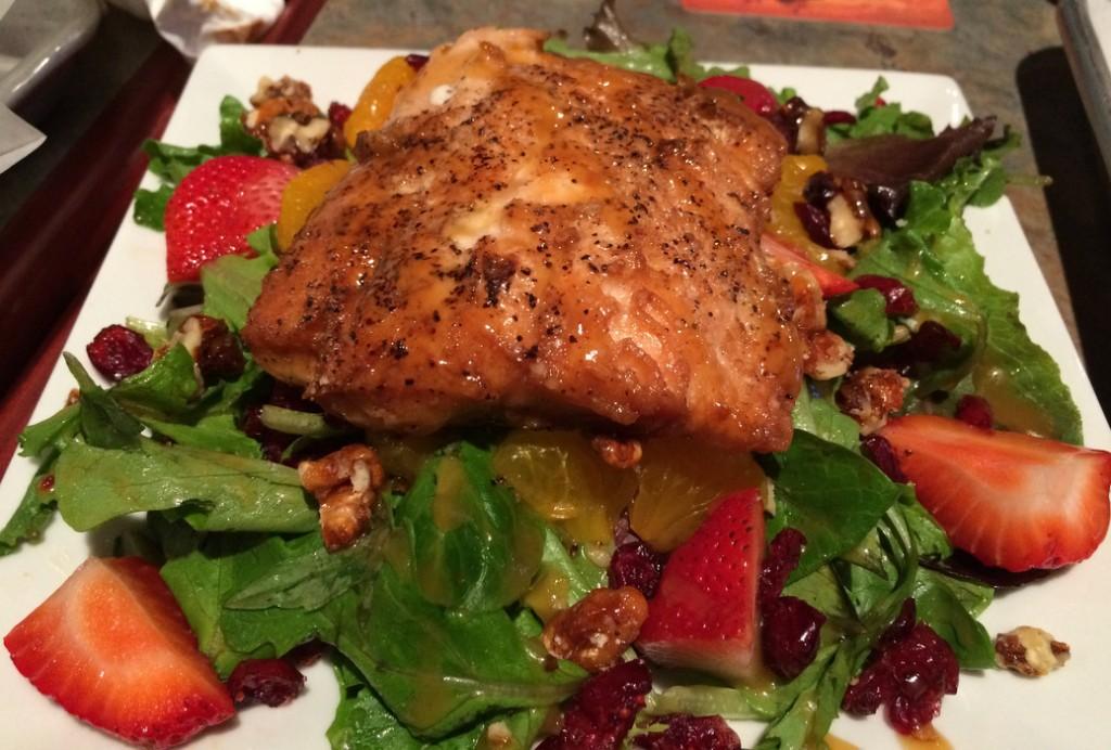 smoked salmon on salad